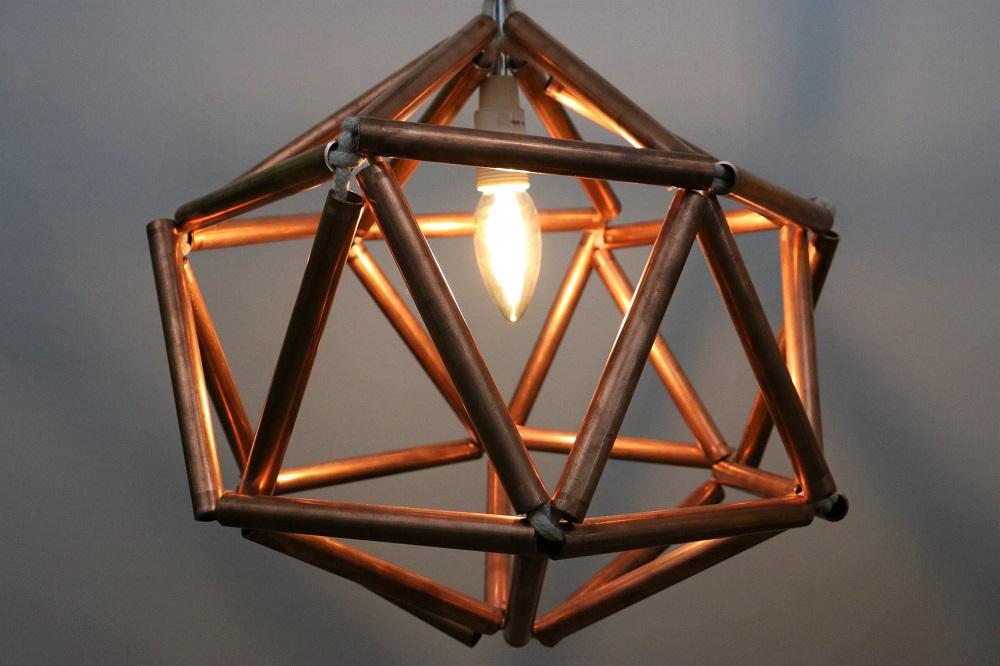 diamanten deckenlampe aus kupferrohr do iteria. Black Bedroom Furniture Sets. Home Design Ideas