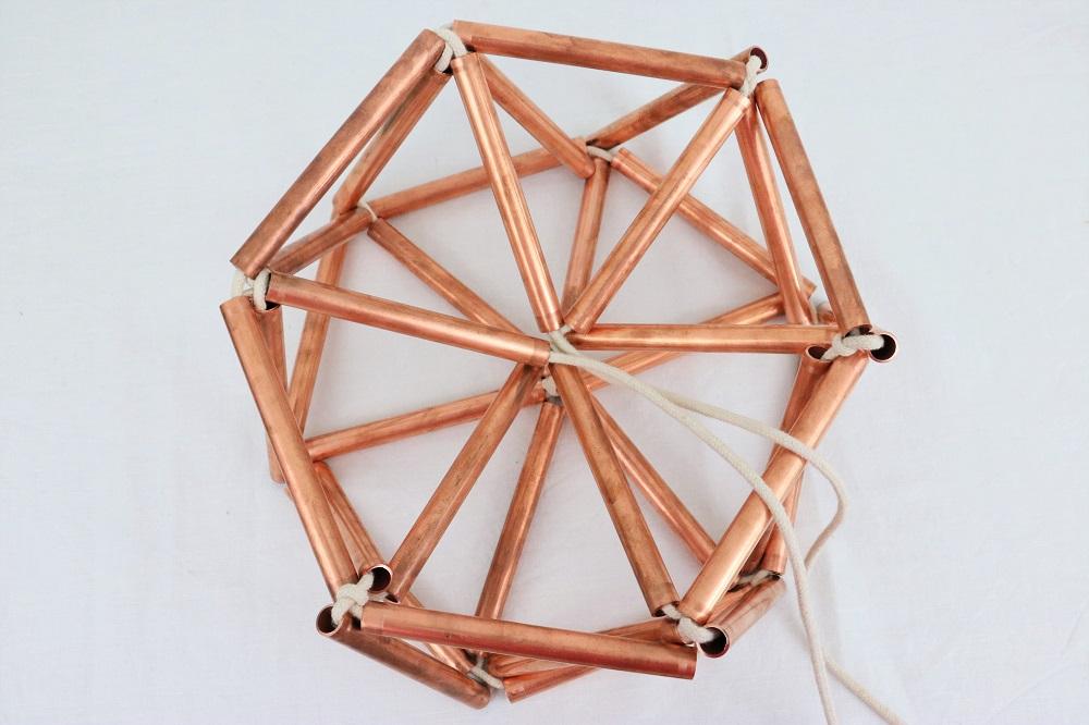 Diamanten Deckenlampe Aus Kupferrohr Do Iteria