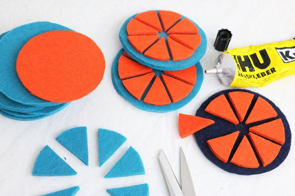 bunt orange(n) Untersetzer Making-of
