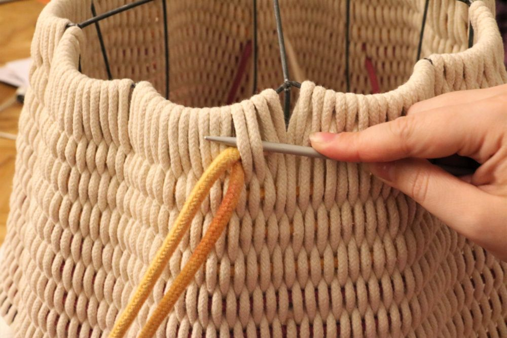 gewebter Seillampenschirm making-of